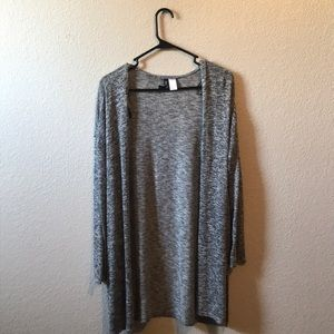 Long Knitted Grey and Black Cardigan
